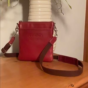 Coach Deep Red Leather Swingback